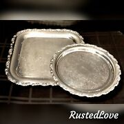 2 Oneida Silver Plated Trays Decorated Roses Square / Round Serving, Tea Trays
