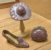 Collectible Beatifull Miniature 4 Peaces Sethat Shoe Purse Stand