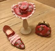 Collectible Stunning Miniature 4 Peace Sethat Shoe Purse Stand