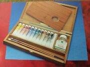 New Winsor And Newton Artists' 12 21ml Oil Colour Paint 2 Brushes Wood Box Set