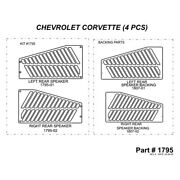For Chevy Corvette 90-91 2d Brushed Metal Rear Speakers Accent Upgrade Kit