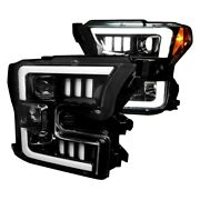 For Ford F-150 15-17 Headlights Black/smoke Sequential Mustang Led Tri-bar
