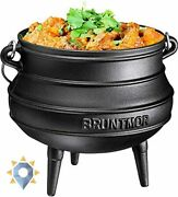 Outdoor Cooking Camping Cookware Portable Cast Iron Pot Lid Wooden Crate New Set