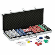 Poker Chip Set Texas Holdand039em Cards Dice Fat Cat 500ct Carry Case Claytec Chips