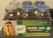 Ball Wide Mouth Canning Mason Jars Half Gallon Clear Glass Jar 64oz 6 Pack New