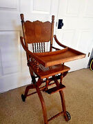 Antique 1860's Fold Up/ Down Childs High Chair Stroller Oak Carved
