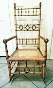 19th Century Faux Bamboo Rocking Chair R.j.horner Spindle Design Rare Find