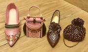 Collectible Miniature 2 Sets Of Shoes And Bags