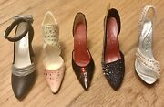 """Collectible Miniature Stunning 5 Shoes """"just The Right Shoe"""" With Crystals. Wow"""