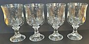 4 Anchor Hocking Savannah Clear Glass Heavy Water Goblets Embossed Rose Flower