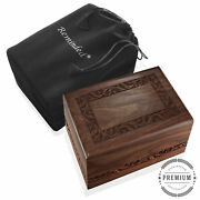 Rosewood Hand-carved Wood Memorial Cremation Box With Velvet Bag - Xl