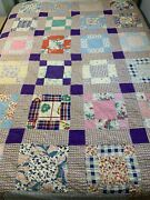 Vintage Quilt Repaired Hand Quilted Blue Paisley Back Cutter 66x77