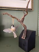 Hand Carved Painted Wooden Bird Statue/decoy Signed Artisan Hand Made Chickadee