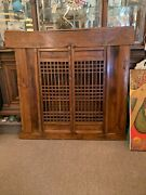"""Amazing Large Antique Wood Chinese Asian Shutter Door 64"""" Wide X 59 Tall"""