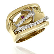 0.09ctw Horse Head Ring W/ Diamond Reins And 0.02ct Ruby Accent In 18k Yellow Gold