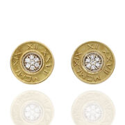 0.21ctw Diamond Roman Numeral Disk Earrings In 14k And 18k Yellow Gold