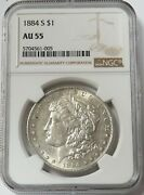 1884 S Morgan Silver 1 Dollar Coin Ngc About Uncirculated 55