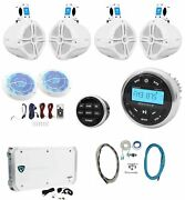 Rockville Marine Bluetooth Receiver+4 8 Wakeboards+2 Led Speakers+6ch Amp