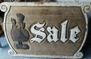 Antique Vintage Large Heavy Wooden Advertising Sale Sign Lady In Dress