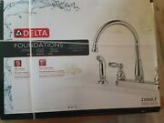 Delta Foundations 21988lf 2-handle Kitchen Faucet W/ Sprayer In Chrome