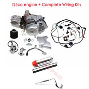 125cc Engine Motor Kit + Wiring Harness + Exhaust Muffler Atv 3 Wheeler Atc110