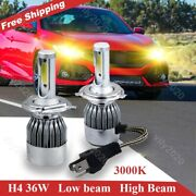 2x H4 9003 Headlight 3000k 72w Upgrade Led Yellow High Low Beam Replacement Bulb