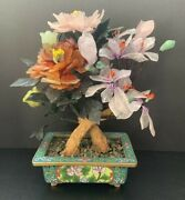 Antique Cloisonne Pot With Stone Carved Flower Jade Tree 10.5