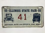 1955 Illinois Special State Fair Antique Auto Meet Sports License Plate Tag