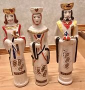 """Collectible Ezra Brooks Decanters """"king Queen Jack"""" Cards Characters Rare"""