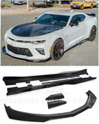 Eos For 16-up Camaro | Zl1 1le Style Glossy Black Front Lip Splitter Side Skirts