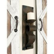 Set Of 2 Rustic Wall Sconce Pillar Candle Holders, Scrolled Iron Band, Wood Base