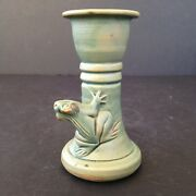 Ceramic Frog Candlestick Indonesian Pottery Matte Green Glaze Toad