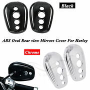 Oval Rearview Side Mirrors Covers For Harley Road Glide Fltr Sportster 1200 883