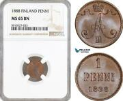 Af890, Finland, Alexander Iii. Of Russia, 1 Penni 1888, Ngc Ms65bn