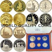 1986 Set 6 Gold Silver Coins Statue Of Liberty 5 1 0.5 United States Box Coa