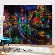 Streets Covered With Neon Lights Printing 3d Blockout Curtains Fabric Window