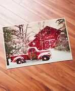 Home For The Holidays Bathroom Rug Country Red Truck Barn Christmas Home Decor