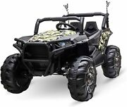 Aosom 12v 2-seater Kids Electric Ride-on Car Off-road Utv Truck Toy With Parenta