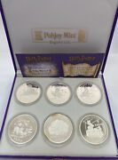 2001 Harry Potter Isle Of Man Proof 1 Crown, .925 Sterling Silver, 6-coin Set