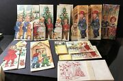 Vintage 1940and039s Childrenand039s Christmas Cards Religious Unused W/ Box And Envelopes