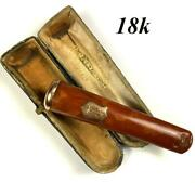 Antique French J. Veyrat 18k Gold And Amber Cigar Holder In Case Etui 3 5/8