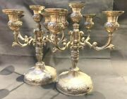 1152-pair Of Antique Silver Early American Candle Holders