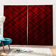 Wine Red Straight Oblique Lines Printing 3d Blockout Curtains Fabric Window