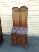 1970and039s Maddox Colonial Solid Cherry Wood Secretary Desk - 2 Pc