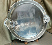 Large Polished Silver Platter W/ Handles Modern Forged Mexico