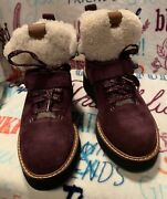 Coach Urban Hiker Suede Shearling Lined Ankle Boots Oxblood G1354 Nwob Size 7