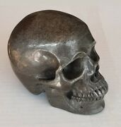 5 1/2 Iron Pyrite Carved Skull - 2240 Grams - Outstanding Display Piece