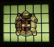 Old English Leaded Stained Glass Window Hand Painted Birmingham 29 X 24