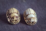 Antique 9k Gold Neo-egyptian Faience Scarab Beetle Clip-on Earrings C1920