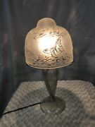 French Art Deco Style Handmade White Frosted Glass Table Lamp 2